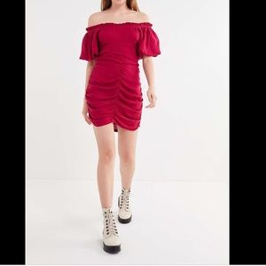 Urban Outfitters Ruched Off the Shoulder Dress